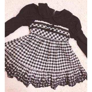 シャーリーテンプル(Shirley Temple)のシャーリーテンプル90 黒白チェック柄ワンピース リボン丸襟ゴスロリ(ワンピース)