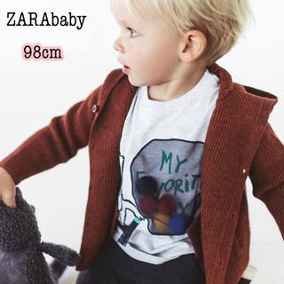 ザラ(ZARA)の新品・未使用・タグ付 【ZARAbaby】ポンポンアップリケ付き Tシャツ 98(Tシャツ/カットソー)