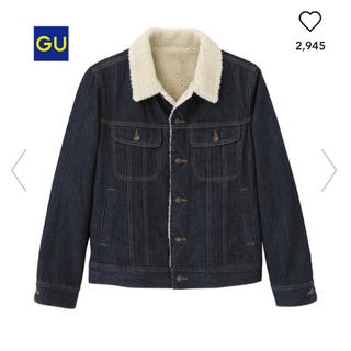 ジーユー(GU)のGU ボアデニムジャケット ネイビー メンズL(Gジャン/デニムジャケット)