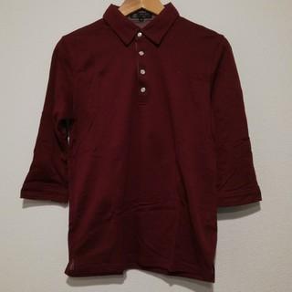 エムケーミッシェルクランオム(MK MICHEL KLEIN homme)の七分丈 コットン ポロシャツ ワインレッド(Tシャツ/カットソー(七分/長袖))