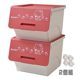 ハローキティ(ハローキティ)の【サンリオ】ハローキティ 収納ボックス 前開き 深型 2個組  ピンク(ケース/ボックス)