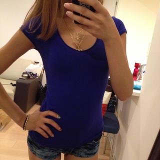 ザラ(ZARA)のZARA TRFプレーンTブルーS(Tシャツ(半袖/袖なし))