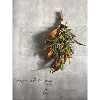 グレビレアとミモザの春を感じるアンティーク スワッグ ドライフラワー(ドライフラワー)