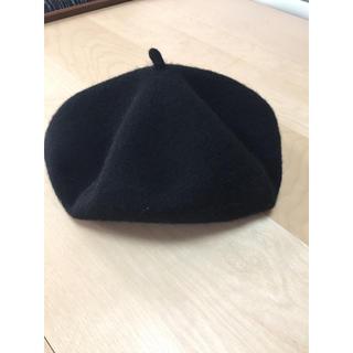 エイチアンドエム(H&M)のブラックベレー帽 キャスケット フリーサイズ(ハンチング/ベレー帽)