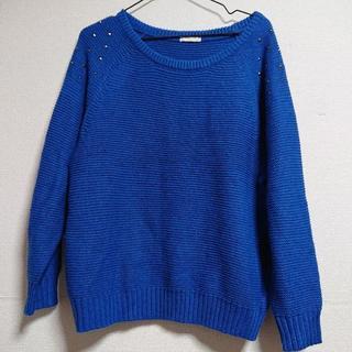 ジーユー(GU)のGU スタッズ付きニット ブルー M(ニット/セーター)
