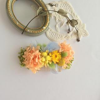 紫陽花とハニーテールのコーム(ヘアアクセサリー)