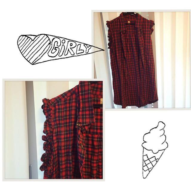 PANAMA BOY(パナマボーイ)の袖口フリル◎可愛い赤チェックワンピ レディースのワンピース(ひざ丈ワンピース)の商品写真