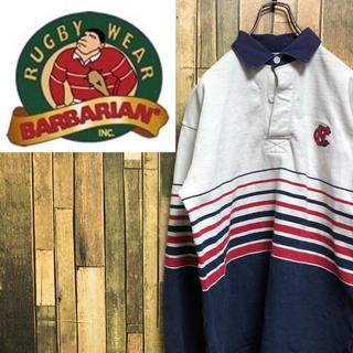 バーバリアン(Barbarian)の【激レア】バーバリアン☆カナダ製刺繍ロゴ入りボーダーデザインラガーシャツ 90s(ポロシャツ)