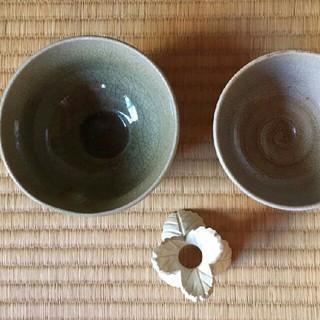 お茶碗2点と蓋置(陶芸)
