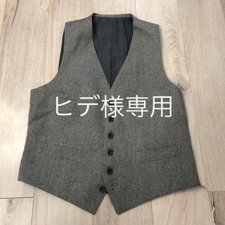 メンズ スーツ ベスト グレー ウール(スーツベスト)