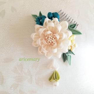 正絹小さめ上品な髪飾りシリーズ 白(ヘアアクセサリー)