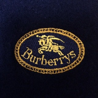 バーバリー(BURBERRY)のレア アーカイブロゴ バーバリー英国製 マフラー ダークネイビー (マフラー/ショール)