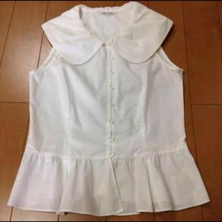 ロイスクレヨン(Lois CRAYON)のロイスクレヨン  白ブラウス ノースリーブ 丸襟 シャツ(シャツ/ブラウス(半袖/袖なし))