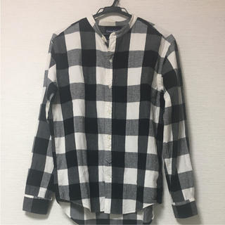 Gymphlex黒チェックノーカラーシャツ
