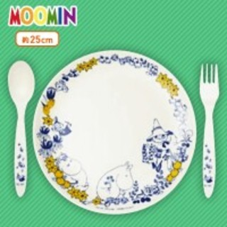 ムーミン バンブーファイバープレートセット (お皿+スプーン&フォーク)