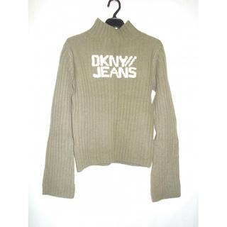 ダナキャランニューヨークウィメン(DKNY WOMEN)のDKNY JEANS ダナキャランのロゴ入りハイネックニットセーター グレー(ニット/セーター)