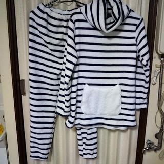 【カフェオレ様専用】ふわもこ パジャマ 上下 紺色白色 ボーダー ルームウエア(その他)