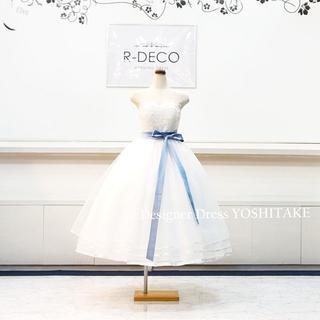 ウエディングドレス(パニエ無料) 白チュー&レース/ミモレ丈 二次会/前撮り(ウェディングドレス)