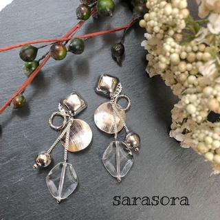 49 silver ×clear earrings(ピアス)