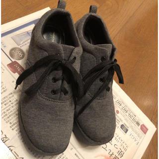 シマムラ(しまむら)のグレー✱厚底レースアップシューズ(ローファー/革靴)