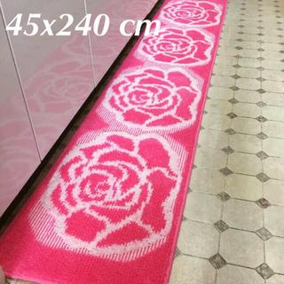 【日本製】45x240cm綺麗なピンク系薔薇のキッチンマット ローズ マット (キッチンマット)