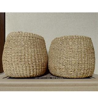 ムジルシリョウヒン(MUJI (無印良品))の無印良品 麦わら素材のかご バスケット プランターケース 2個セット(バスケット/かご)