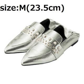 ジーユー(GU)の送込 GU パールスタッズバブーシュ M 23.5cm タグ付(ローファー/革靴)