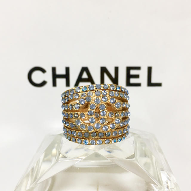 0b6b01e9527f CHANEL(シャネル)の正規品 シャネル 指輪 ゴールド ココマーク ラインストーン 青 金
