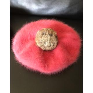 ザラ(ZARA)の美品 ふわふわ アンゴラ ニット ベレー帽 ピンク ぽんぽん付き 帽子(ハンチング/ベレー帽)