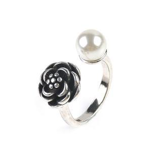 リング 指輪 薔薇 パール アンティーク シルバー フラワー ローズ レトロ調(リング(指輪))