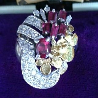 ダイヤモンド 天然ルビー プラチナ 18金のデザイン指輪(リング(指輪))