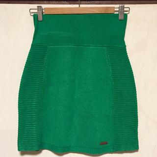 ニットペンシルスカート グリーン 緑 ニットタイトスカート 匿名配送