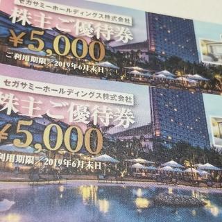 セガ(SEGA)のセガサミー株主優待券 ¥5,000 2枚セット(遊園地/テーマパーク)