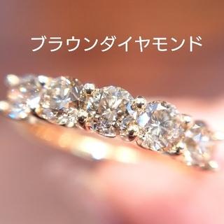 まさにゃん様専用✨K18 ブラウンダイヤハーフエタニティ&エメラルド リング(リング(指輪))