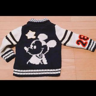 ディズニー(Disney)のミッキー♡ニットカーディガン    90   ジップアップ(アウター)(ニット)