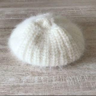 ウィゴー(WEGO)のニットベレー帽 ニット帽 ホワイト アンゴラ(ニット帽/ビーニー)