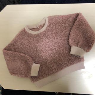 プティマイン(petit main)のpetit main ビックシルエットトレーナーボアヌーディピンク130(Tシャツ/カットソー)