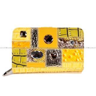 【ミケランジェロ】二つ折り財布★送料無料★イエロー3(財布)