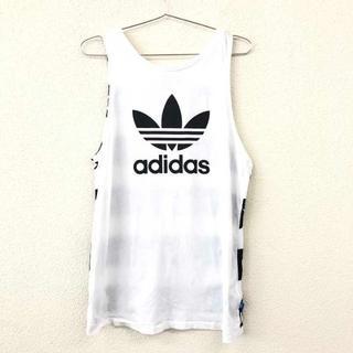 アディダス(adidas)の美品 adidas アディダス タンクトップ ノースリーブ ロゴ 白 14(タンクトップ)