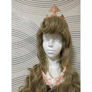 Secret Honey - シークレットハニー、オーロラ姫ピンクドレスとウィッグ&ティアラ&ネックレスセット