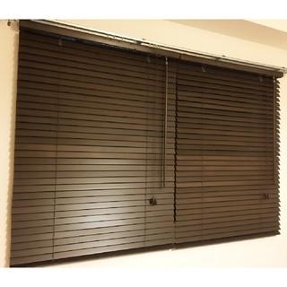 カーテンレール取付可能!木製ブラインド横幅80×高さ138㎝ダークブラウン2台(ブラインド)
