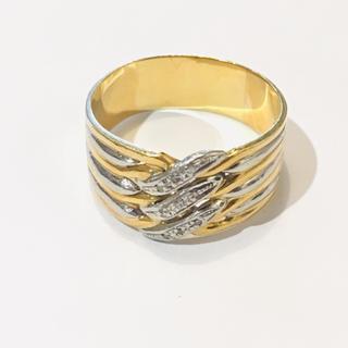 K18 PT850 天然ダイヤモンド コンビリング メンズ(リング(指輪))
