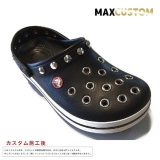 クロックス(crocs)のクロックス crocs パンク カスタム 黒 サイズ22~30cm 新品(サンダル)
