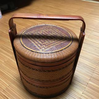 ◆ アンティーク  手彫り竹細工 2段お重 ◆(漆芸)