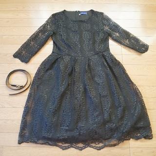 総レースワンピースドレス ブラック(ひざ丈ワンピース)