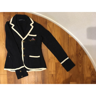 ラルフローレン(Ralph Lauren)のラルフローレン ジャケット ネイビー×ホワイトパイピング Mサイズ(ニット/セーター)