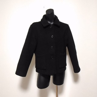 マーガレットハウエル(MARGARET HOWELL)のマーガレットハウエル Pコート ショートコート 黒 英国製(ピーコート)