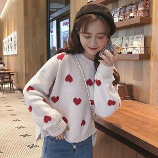 韓国ファッション ハート柄ニット 白 赤