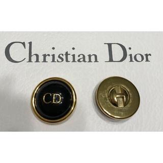 クリスチャンディオール(Christian Dior)のクリスチャンディオール★ロゴボタン ブラック×ゴールド 32mm 柄B Dior(各種パーツ)
