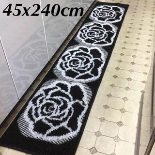 ■45x240cm■【日本製】シックな薔薇・ローズ キッチンマット ブラック(キッチンマット)
